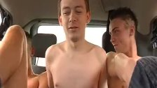 Bottom bitch Leo Paris enjoys being fucked by two twinks