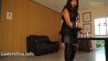- German Mature Herrin Carmen Buttplugset fuer Sissy Training Leather Boots/><br/>                         <span class=