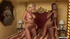 Two super hot blondes getting fucked in the ass in a threesome