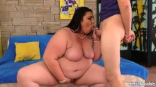 Tubby Temptress Bella Bendz Rubs Her Pussy, Sucks Cock and Gets Fucked