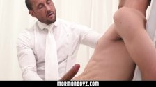 MormonBoyz - Handsome priest leader strokes bound gay missionary's cock