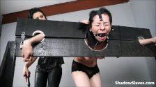 Wooden stock whipping and latina punishment of lesbian slave girl in south