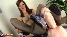 Irina Vega footjob in black stockings