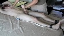Blindfolded feet lover jacked off by dom