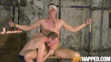 Blindfolded submissive blown by master