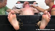 Feather tickling session for restrained ginger stud