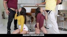 DaughterSwap - Horny Teen Besties Fuck Eachothers Dads
