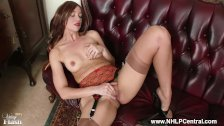 Hot brunette Tracy Rose strips off vintage lingerie wanks in nylons mules