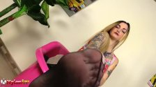 Horny blonde wearing just pantyhose drives you crazy