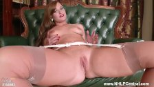 Posh babe Honour May strips to vintage nylons heels garters and masturbates