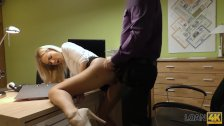 LOAN4K. Blonde lassie gives herself to agent in office in loan porn