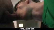 FamilyDick - Sexy daddy barebacks his curious stepson