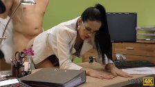 LOAN4K. Petite lassie pays with hot sex for wage increase in office