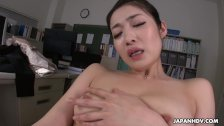 New office girl Ryu toys her cunt while working overtime