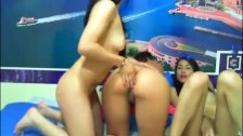 Three Sexy Chicks Pleasure One Another in Bed