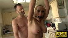 Throating milf tied up