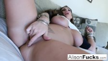 Big Tit Alison rubs her giant knockers
