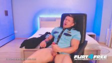 Pablo Coco on Flirt4Free - Ripped Cop Strips Uniform to Beat His Big Baton