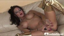 Horny busty wife strips and masturbates passionately