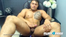 Flirt4Free - Allen Ferrer - Latino Hunk with Hairy Pubes Jerks Uncut Cock