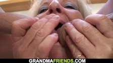 Boozed Blonde Grandmother Takes Two Cocks From Both Sides