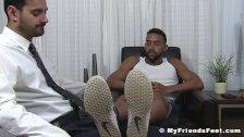 Kinky latino Jay wanks off while foot worshipped