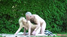 Petite teen blonde takes old man cock in her wet pussy then gives blowjob