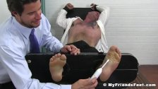 Businessman Daxx cannot escape severe feet tickling