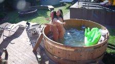 Drunk British girls going wild in backyard