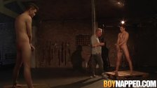Maledom Sebastian Kane torments two twink cocks and blowjob