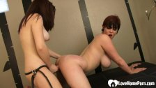 Hot lesbian couple uses a Hitachi sex toy