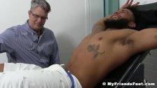 Bound black dude receives tickle torment from older gentleman