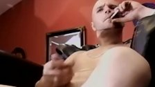 Muscly white masculine guy watches porn and jerks off his dick