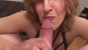 Mature amateur wife gives head with cumshot