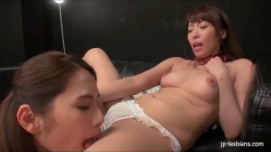 Kinky Japanese lesbians pussy licking