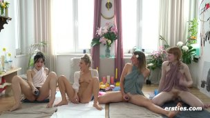 Four Beautiful Babes Take Part in a Squirting Workshop