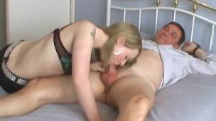 Amateur British blonde sucking an older man