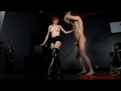 CBT cock torture with weights and anal hook