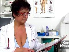 Hot legs milf Nora jacking off a patient boy