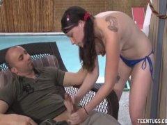 Poolgirl handjob
