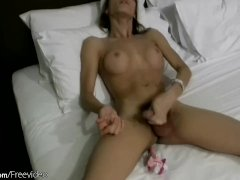 Ladyboy First pleasures her tight ass