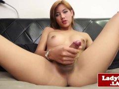 Asian tgirl tugging her penis