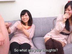 Subtitles CFNM Japanese friend watches blowjob