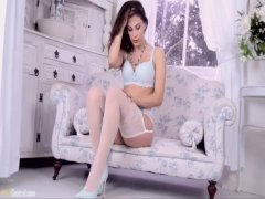 Roxy Mendez releases big natural tits and masturbates in pale blue lingerie