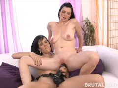Mary stuffs Blue Elis mouth and pussy with a huge dildo