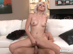 TEENGONZO Teen Jenna Ivory rides a big cock on the couch
