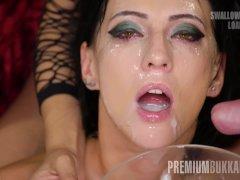 Premium Bukkake - Sherry Vine swallows 66 huge mouthful cumshots