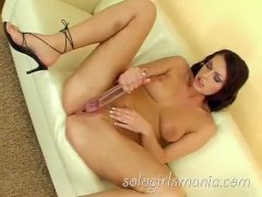 SOLOGIRLSMANIA big boobed Molgah loves huge dildos