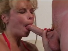 Blonde from Russia doing messy blowjob and more
