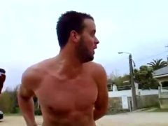 Drunk straight guy naked & peeing by the car.